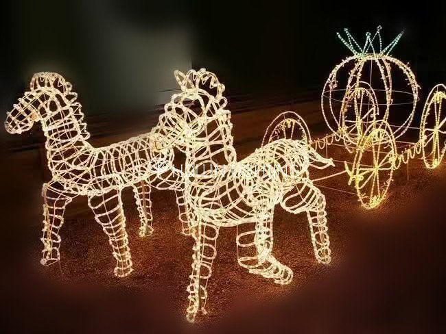 outdoor led horse decorative animal motif hl m 112 hollinlighting - Christmas Lighted Horse Carriage Outdoor Decoration